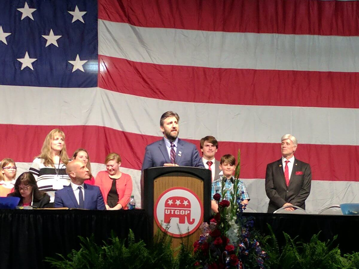 Joe Levi addresses the State Delegates of the Utah Republican Party at the 2017 Organizing Convention