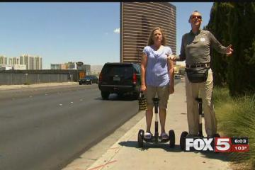 A husband and wife said they're unable to enjoy their vacation to celebrate their 25th wedding anniversary because workers at the Trump Hotel refused to let them use their Segways inside the property. (Adam Herbets / FOX5)