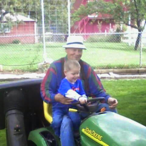 Dad on lawn mower